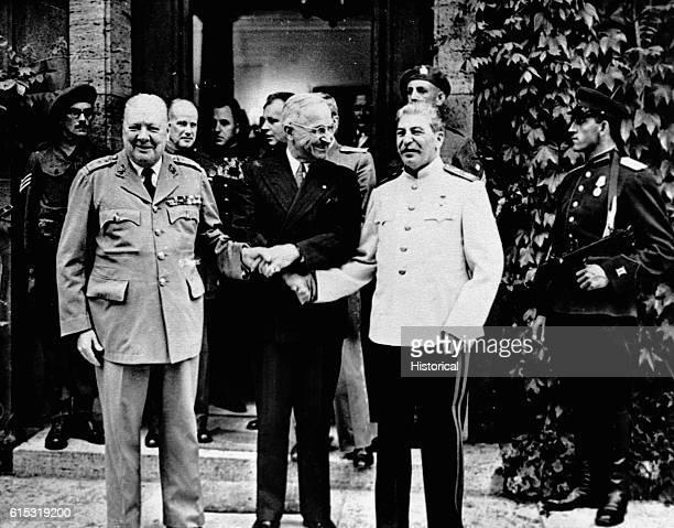 Churchill, Truman, and Stalin at Potsdam Conference.