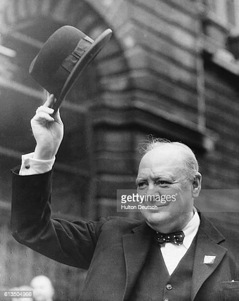 Churchill Waving Hat at No 10 Downing Street