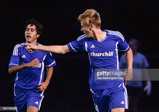 Churchill's JJ Van Der Merwe points to a teammate after scoring his second goal during the game at Walter Johnson High School on Tuesday October 15...
