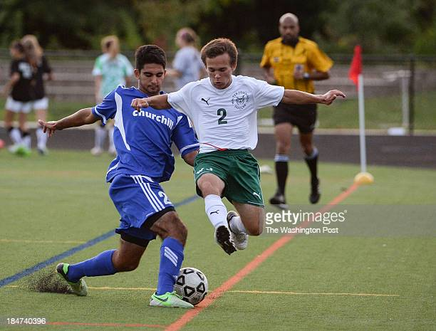 Churchill's Sepehr Hoghoogi left stops the charge of Walter Johnson's Arik Moe during the game at Walter Johnson High School on Tuesday October 15...