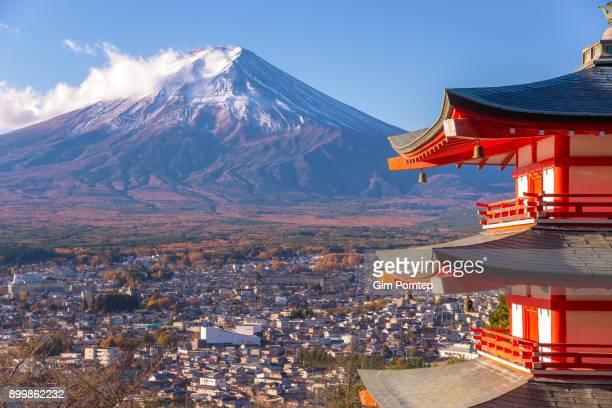 Chureito pagoda and Mount Fuji in Fujiyoshida city, yamanashi, japan