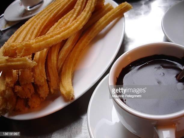 churros with chocolate - churro fotografías e imágenes de stock