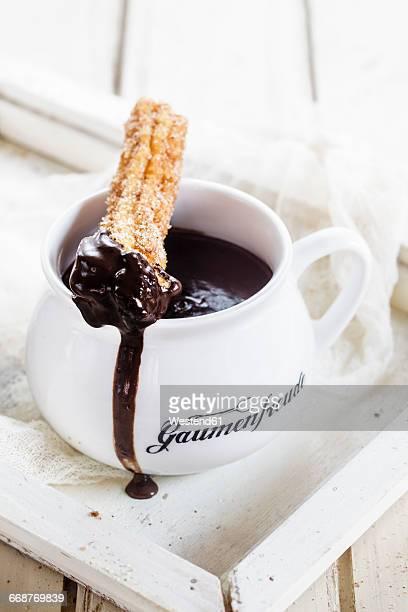churros with hot chocolate - churro fotografías e imágenes de stock
