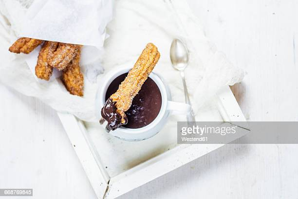 churros with hot chocolate - sugar bowl crockery stock photos and pictures