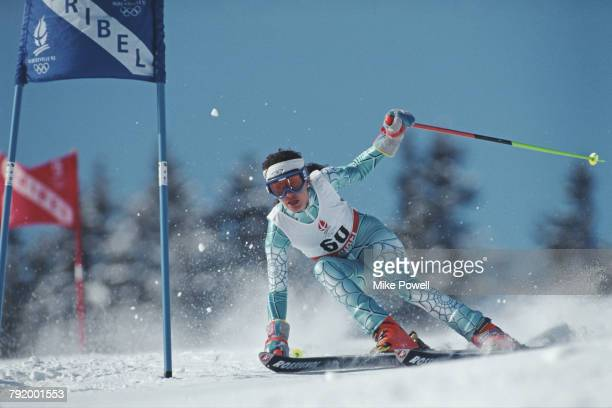 Chus Cortina of Mexico skiing in the Women's Giant Slalom competition on 19 February 1992 during the XVI Olympic Winter Games at Meribel,...