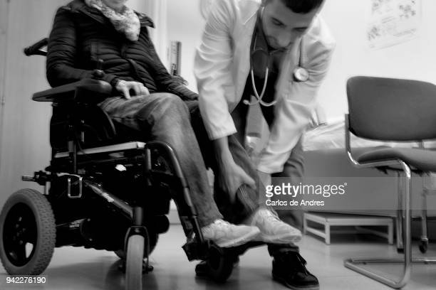 Chus Madurga who suffers from Multiple Sclerosis is seen with her Neurologist on August 10 2017 in Soria Spain Multiple Sclerosis is a neurological...
