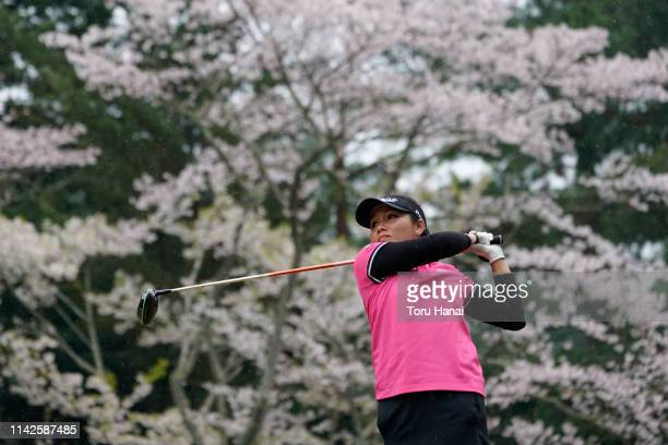 Chutichai of Thailand hist a tee shot on the 16th hole during the final round of the Hanasaka Ladies Yanmar Golf Tournament at Biwako Country Club on...