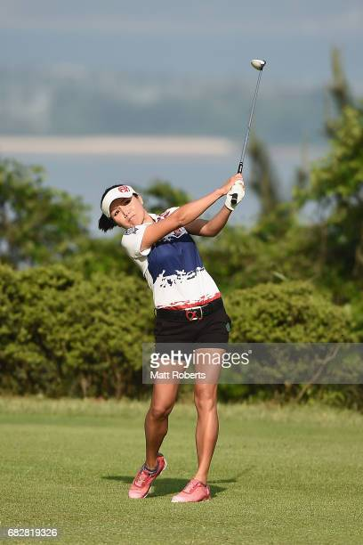 Chutichai of Thailand hits her tee shot on the 2nd hole during the final round of the HokennoMadoguchi Ladies at the Fukuoka Country Club Wajiro...