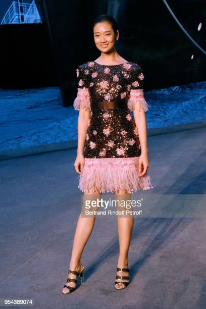 Chutimon Chuengcharoensukying attends the Chanel Cruise 2018/2019 Collection Photocall at Le Grand Palais on May 3 2018 in Paris France
