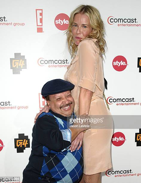 Chuy Bravo and Chelsea Handler attend the Comcast Entertainment Group TCA cocktail reception at The Langham Huntington Hotel and Spa on January 5,...