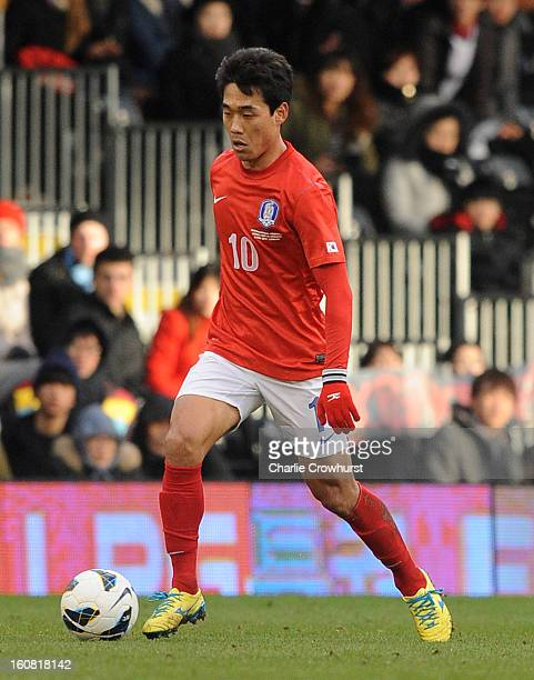 Chu-Young Park of Korea Republic attacks during the International Friendly match between Croatia and Korea Republic at Craven Cottage on February 6,...