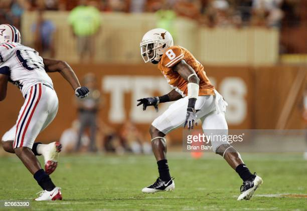 Chykie Brown of the Texas Longhorns moves on the field during the game against the Florida Atlantic Owls on August 30 2007 at Darrell K RoyalTexas...