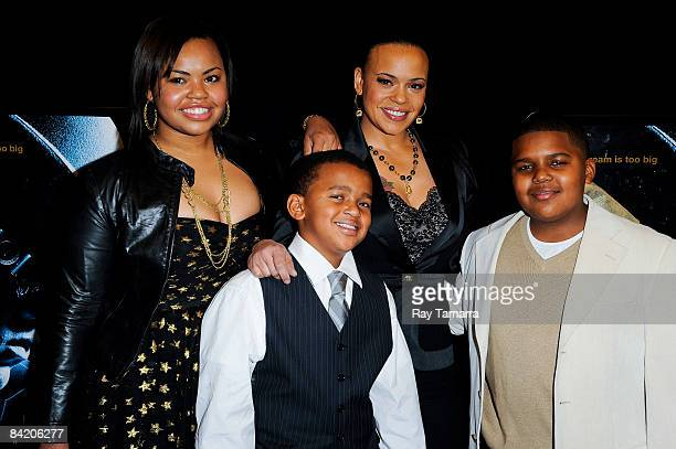 Chyna Griffin Joshua Russaw singer Faith Evans and Christopher Wallace attend the premiere of Notorious at the AMC Lincoln Square on January 7 2009...