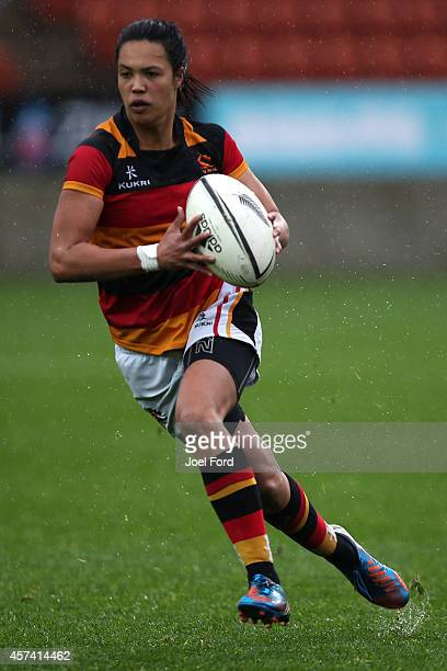 Chyna Hohepa of Waikato runs wiht the ball during week 9 of the Women's Provincial Championship match between Counties Manukau and Waikato at Waikato...