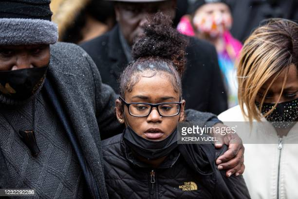 Chyna Whitaker , Daunte Wright's girlfriend leaves a from press conference at the Hennepin County Government Center in Minneapolis, Minnesota on...