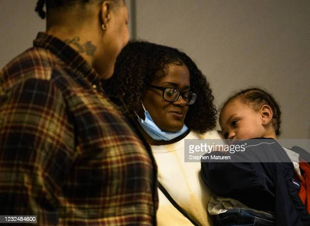 Chyna Whitaker holds her son Daunte Wright Jr. During a press conference on April 23, 2021 in Minneapolis, Minnesota. Wright Jr.s father, Daunte...