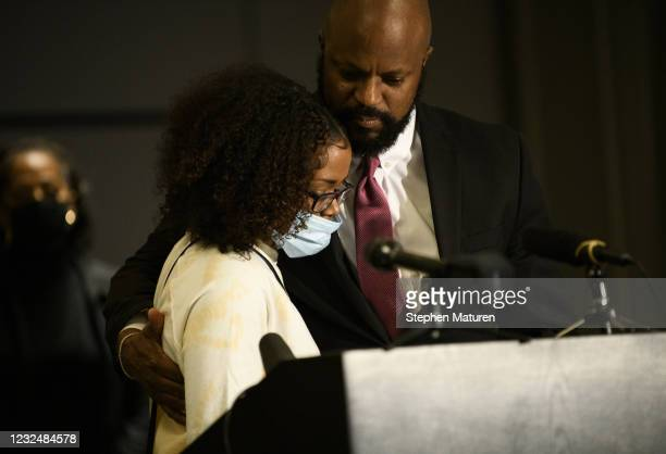 Chyna Whitaker , mother of Daunte Wright Jr., is comforted by family attorney Thomas Bowers during press conference on April 23, 2021 in Minneapolis,...