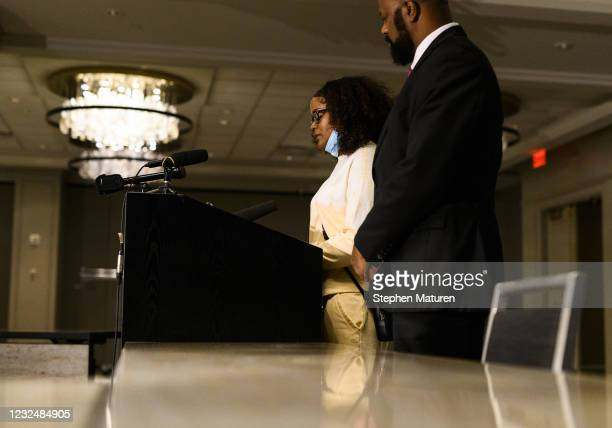 Chyna Whitaker, mother of Daunte Wright Jr., reads a letter to Daunte Wright during a press conference on April 23, 2021 in Minneapolis, Minnesota....