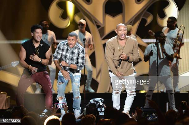 Chyno Miranda and Gente de Zona performs onstage during the iHeartRadio Fiesta Latina Celebrating Our Heroes at American Airlines Arena on November 4...