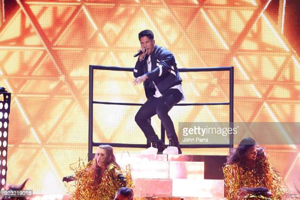 Chyno Miranda performs onstage at Univision's 30th Edition Of 'Premio Lo Nuestro A La Musica Latina' at American Airlines Arena on February 22 2018...