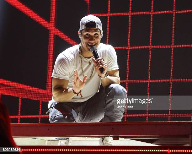 Chyno Miranda rehearses on stage during Univision's 'Premios Juventud' 2017 Celebrates The Hottest Musical Artists And Young Latinos ChangeMakers Day...