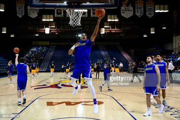 Chyree Walker of the Delaware Fightin Blue Hens drives to the basket before the game against the Drexel Dragons at the Daskalakis Athletic Center on...