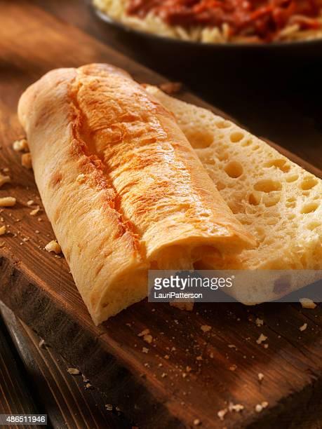 Ciabatta Bread on a Rustic Wood Cutting Board