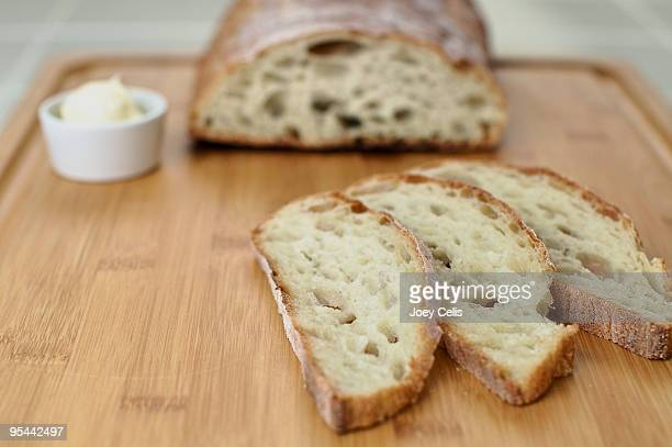 Ciabatta bread on bamboo cutting board