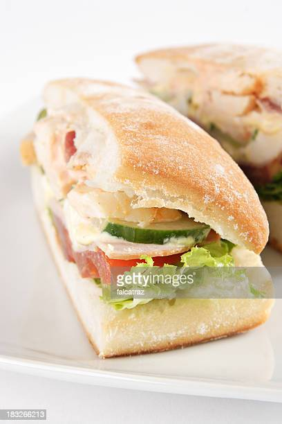 ciabatta club sandwich - club sandwich stock pictures, royalty-free photos & images