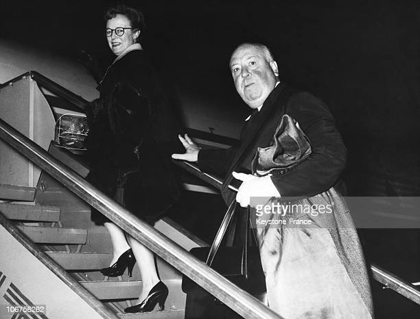 Ciampino Airport Director Alfred Hitchcock And His Wife Take The Plane October 1960