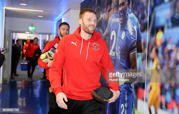 Cian Bolger of Fleetwood Town arrives at King Power Stadium ahead of The Emirates FA Cup Third Round Replay between Leicester City and Fleetwood Town...