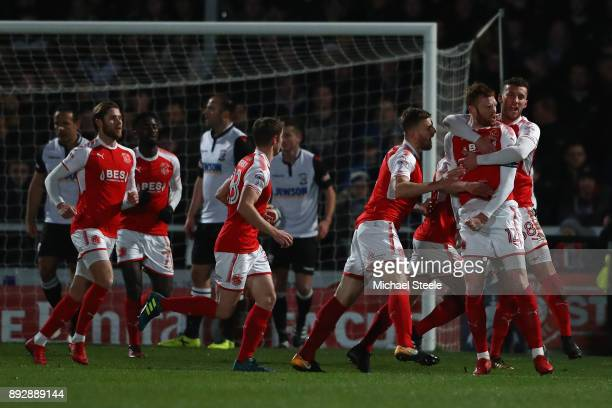 Cian Bulger of Fleetwood celebrates scoring the opening goal during the Emirates FA Cup second round replay match between Hereford FC and Fleetwood...