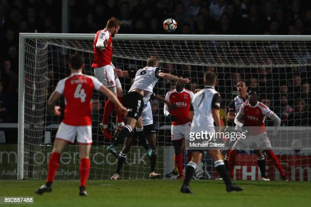 Cian Bulger of Fleetwood rises highest to score the opening goal during the Emirates FA Cup second round replay match between Hereford FC and...