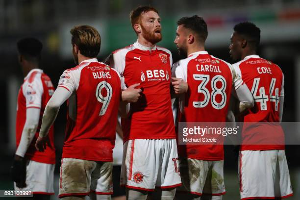 Cian Bulger the captain of Fleetwood Town organises a wall during the Emirates FA Cup second round replay match between Hereford FC and Fleetwood...