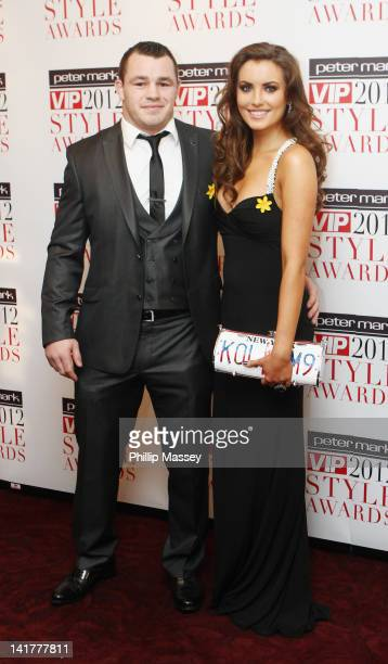 Cian Healy and Miss Ireland Holly Carpenter arrives at the Peter Mark VIP Style Awards on March 23, 2012 in Dublin, Ireland.