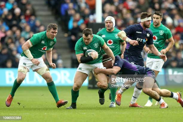 Cian Healy of Ireland charges upfield during the Guinness Six Nations match between Scotland and Ireland at Murrayfield on February 9, 2019 in...