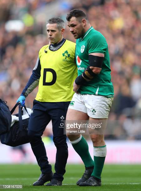 Cian Healy of Ireland goes off injured during the 2020 Guinness Six Nations match between England and Ireland at Twickenham Stadium on February 23,...