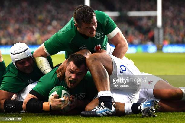 Cian Healy of Ireland scores his team's first try during the Guinness Six Nations between Ireland and England at Aviva Stadium on February 2 2019 in...