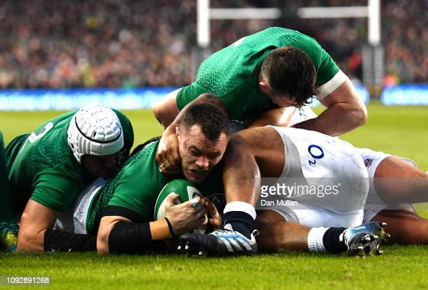 Cian Healy of Ireland scores his team's first try during the Guinness Six Nations between Ireland and England at Aviva Stadium on February 2, 2019 in...