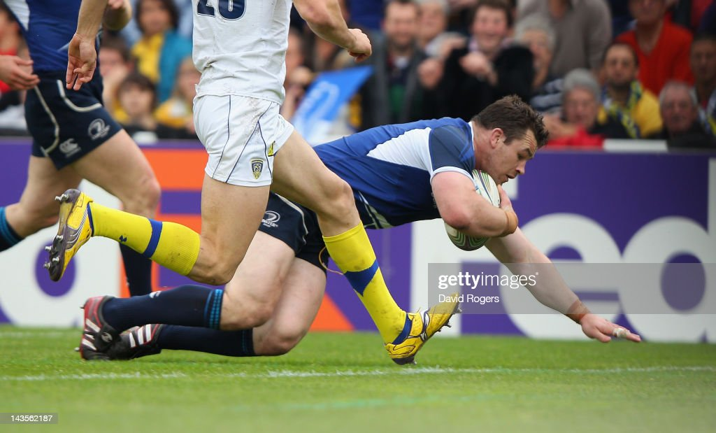 Cian Healy of Leinster dives over for a try during the Heineken Cup semi final match between ASM Clermont Auvergne and Leinster at Stade Chaban-Delmas on April 29, 2012 in Bordeaux, France.
