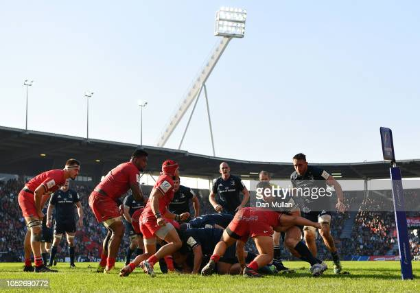 Cian Healy of Leinster is tackled by Julien Marchand of Toulouse just short of the line during the Champions Cup match between Toulouse and Leinster...