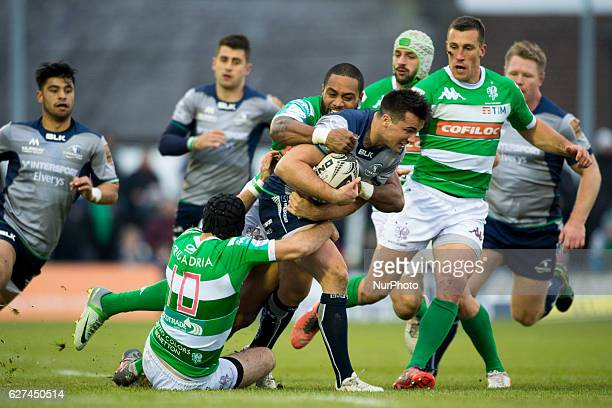 Cian Kelleher of Connacht tackled by Michael Tagicakibau and Ian McKinley of Benetton during the Guinness PRO12 Round 10 match between Connacht Rugby...