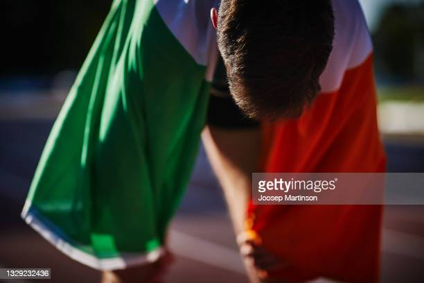 Cian McPhillips of Ireland reacts in the Men's 1500m Final during European Athletics U20 Championships Day 3 at Kadriorg Stadium on July 17, 2021 in...