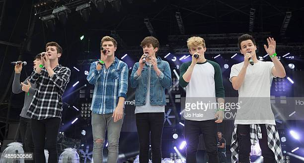Cian MorrinDayl CroninDean GibbonsJosh GrayRyan McLoughlinBrendan Murray of Hometown perform on stage at Fusion FestivalCofton Park on August 30 2015...