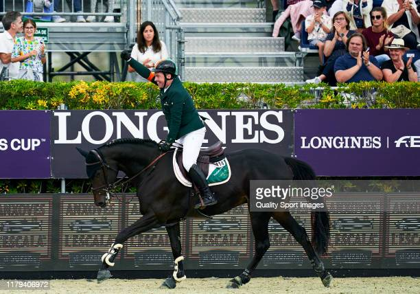 Cian O'Connor of Ireland celebrates the victory during Day 4 of Longines FEI Jumping Nations Cup Final at Reial Club de Polo de Barcelona on October...
