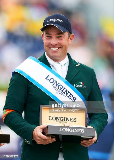 Cian O'Connor of Ireland celebrates the victory of his team during Day 4 of Longines FEI Jumping Nations Cup Final at Reial Club de Polo de Barcelona...