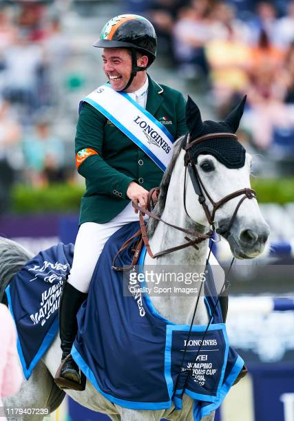 Cian O'Connor of Ireland on his lap of honour during Day 4 of Longines FEI Jumping Nations Cup Final at Reial Club de Polo de Barcelona on October 06...