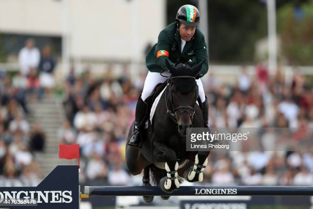 Cian O'Connor of Ireland rides PSG Final in the final competition during Day 4 of Longines FEI Jumping Nations Cup Final at Real Club de Polo de...