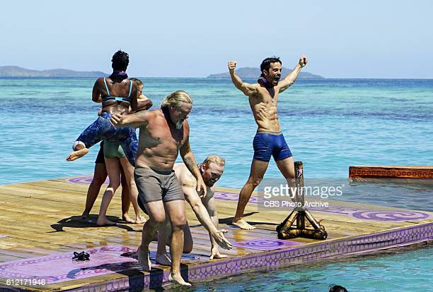 Ciandre Taylor Paul Wachter Chris Hammons and Ken McNickle on the second episode of SURVIVOR Millennials vs Gen X airing Wednesday Sept 28 on the CBS...