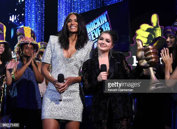 Ciara and Ariel Winter onstage at Dick Clark's New Year's Rockin' Eve with Ryan Seacrest 2018 on December 31 2017 in Los Angeles California